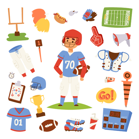 American football player action isolated on the white. Sport athlete uniform people helmet vector icons. Winning adult quarterback man muscular character and professional competition sports equipment.