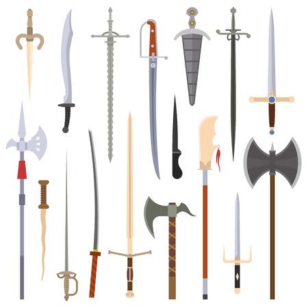 Cuchillos colección de armas de hierro. espadas vector, cuchillos, hacha, lanza. establecen armas de hierro afiladas. Combate hoja de metal y hierro dispositivo de unión de bayoneta swat brazos de acero en frío.