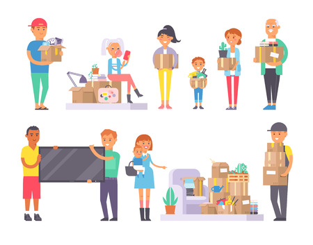 unpacking: People moving movement apartment together. Happy young couple moving in new house. Woman carrying boxes together with family. Different person unpacking box vector character set.