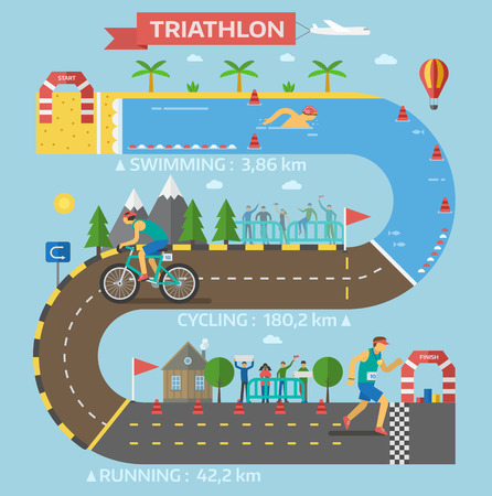 Triathlon race infographic presentation template. Progress triathlon race infographic vector with people hurry each step sport icon business. Speed competition concept information. Vettoriali