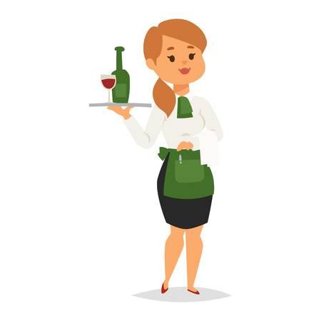 Serveerster die dienblad met wijnfles draagt. Serveerster in eenvormig die op witte achtergrond wordt geïsoleerd. Vectorillustratiekierner met beroep van het wijnglas de professionele baan.