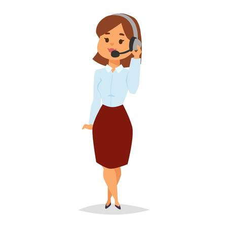 financial adviser: Consultant office professional female adviser girl. Young smiling agent of call center touching microphone businesswoman. Manager consultant woman adviser girl vector character.