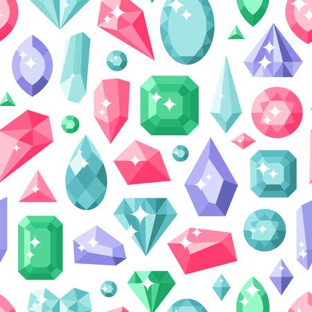 edelstenen: Sieraden stenen naadloos patroon dure decoratie. Heleboel verschillende kleurrijke edelstenen op wit. Vector achtergrond diamant kristal textuur geometrische fashion wallpaper.