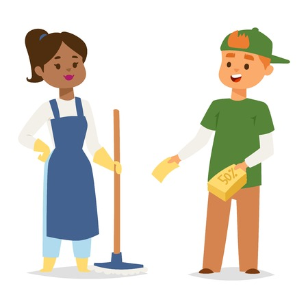 housekeeper: Cleaners people vector character domestic uniform. Friendly cleaner dressed in work clothes with mop. Housework worker with professional equipment. Housekeeper hygiene woman.