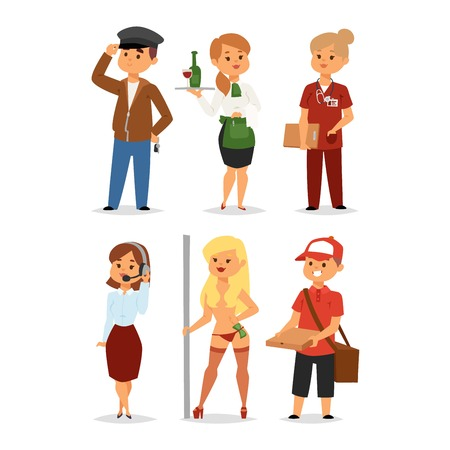 job opportunity: People professions recruitment job concept unemployed. Different people professions or time unemployed. Business career search workers opportunity looking vector human characters.