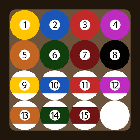 pool game: Set of color american billiard balls illustration. Gambling recreational symbol gamble equipment. Shiny round object pool game sport competition vector. Illustration