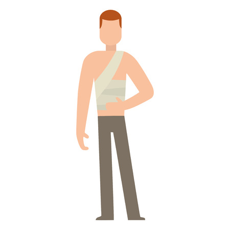 Trauma accident and human body safety vector silhouette. Cartoon flat style man health medical treatment medicine care illustration isolated on white background.