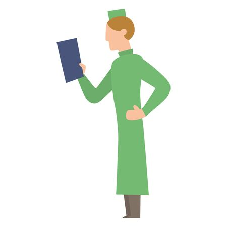 practitioner: Doctor people young male professional surgeon. Medical team practitioner at hospital looking happy. Clinic occupational illness job specialist vector character.