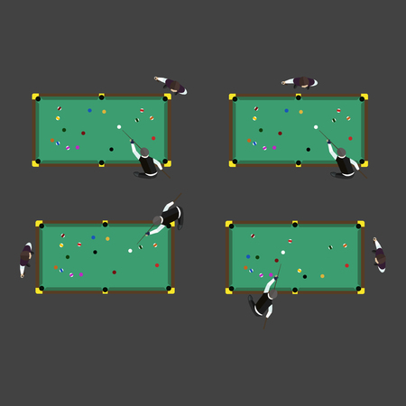 billiards table: Billiards table game equipment activity challenge symbols. Vector green snooker competition play leisure illustration. Tournament sport gambling action recreation club. Illustration