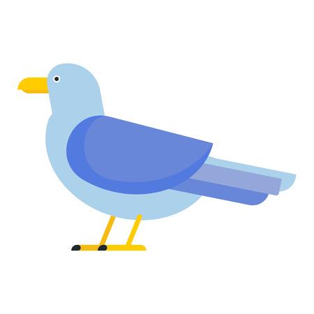 Gull flight bird and seabird gull. Natural larus beach free bird, wildlife seabird cartoon looking gull.