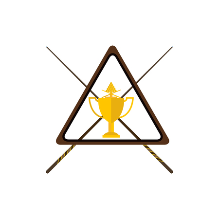 billiards cue: Winning billiards concept of victory vector illustration. Gold cup with cue achievement award best first prize. Championship cue golden reward design billiard trophy.