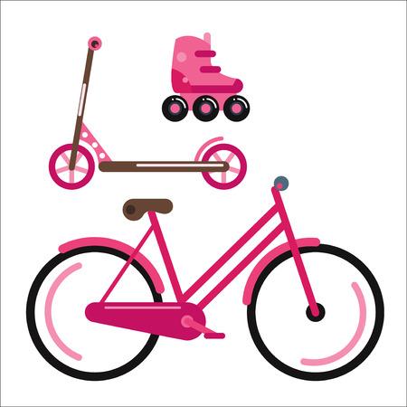 rulos: estilo plano de la bicicleta aislado en el fondo blanco ilustración vectorial. Ecología de usar la bicicleta verano aventura al aire libre. Calle ciclo de transporte por carretera rápido. Deporte y herramienta de raza respetuoso del medio ambiente todos los días.