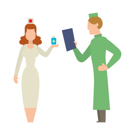 practitioner: Doctor people young female professional surgeon. Medical team practitioner at hospital looking happy. Clinic occupational illness job specialist vector character.