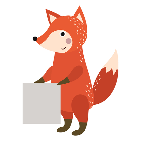 Wild animal zoo strike with clean plate board vector cartoon. Forest wildlife fox character silhouette saying message comment quotation poster information.