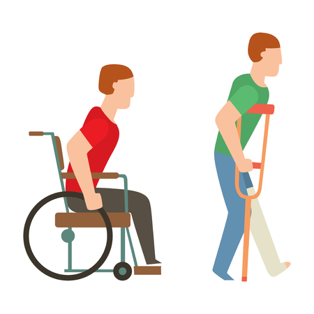 Trauma accident wheelchair and human body safety vector silhouette. Cartoon flat style people health medical treatment medicine care illustration isolated on white background.