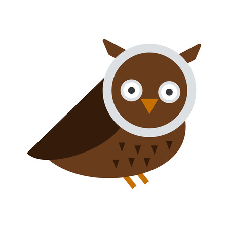 behavior: Cute modern vector bright cartoon owl expression. Animal character comic funny doodle behavior bird. Little owlet colorful emotion humor eyes wide face.