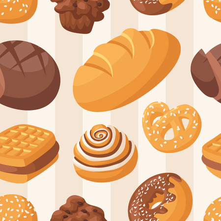 topping: Bakery seamless pattern with colorful glazing donuts. Chocolate festive topping pastry food. Fresh cake desert background. Vector illustration sweet delicious wallpaper. Illustration