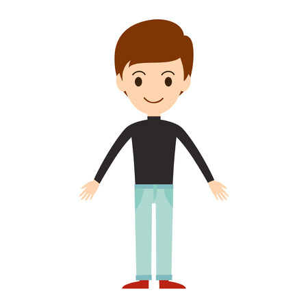 Beautiful vector cartoon boy model. Fashion look male character standing over white background. Modern beauty summer cloth everyday icons illustration.
