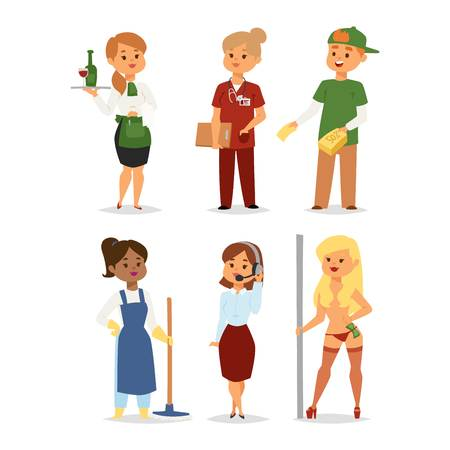 People professions workers people different industry servise. Different people professions or time unemployed. Business career search workers opportunity looking vector human characters.