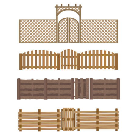 enclosure: Different designs of fences and gates isolated on white background. Rustic wall house protection. Stone home building garden enclosure element. Architecture farm border vector.