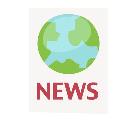 News icon vector world map or globe symbol. Internet publication news icon information paper headline element. Communication media newspaper business reportage.