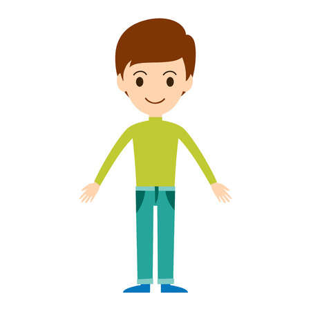 male fashion model: Beautiful vector cartoon boy model. Fashion look male character standing over white background. Modern beauty summer cloth everyday icons illustration.