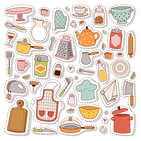 Kitchen con hand drawn accessory patches set. Restaurant modern knife cooking kitchen icons. Household utensil teapot and kettle tools. Workwear for cooking or food preparation. Vector Illustration