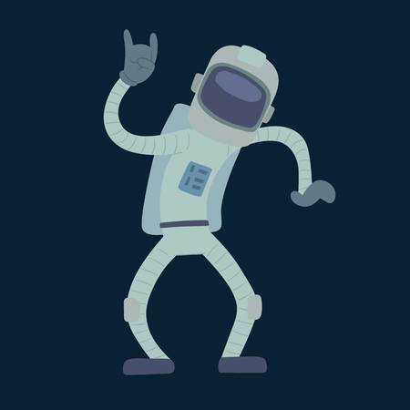 Cute astronauts in space, working and having fun. Isolated galaxy atmosphere system fantasy traveler man. Gravity floating journey suit vector character.