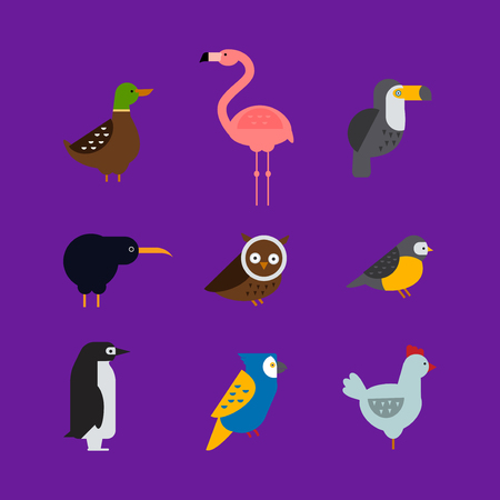 titmouse: Birds vector set. Colorful wildlife nature collection. Cartoon wing flying animal cute drawing silhouette. Wild fly color bird character illustration.