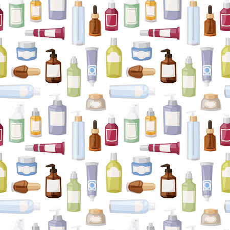 beauty care: Cosmetics packages beauty products seamless pattern vector. Cream design product care lotion liquid container. Packaging blank gel body spray background. Illustration