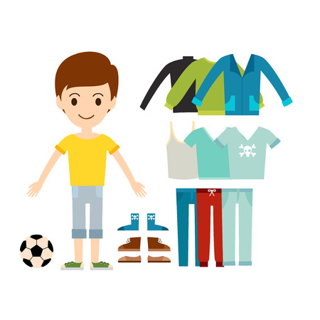 Beautiful vector cartoon man model constructor. Fashion look male standing over white background. Modern beauty summer cloth everyday icons illustration.