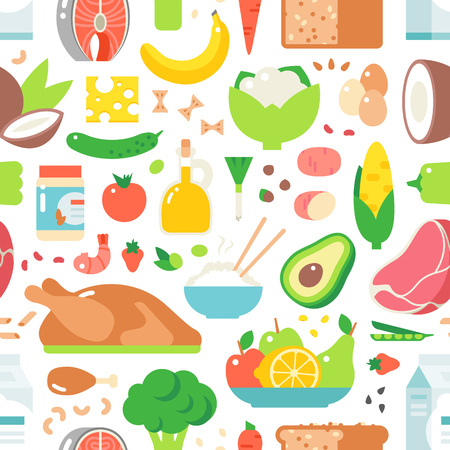 abstract food: Food seamless pattern vector background. Vegetables breakfast diet doodle wallpaper. Abstract menu fruit decor restaurant healthy lunch beverage decorative foods elements.