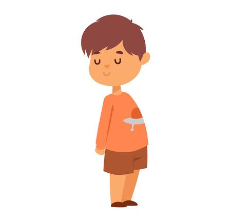 joy of life: Boy portrait fun expression and cute vector illustration. Teenager cartoon character and happyness little man. Human cheerful joy casual childhood life.