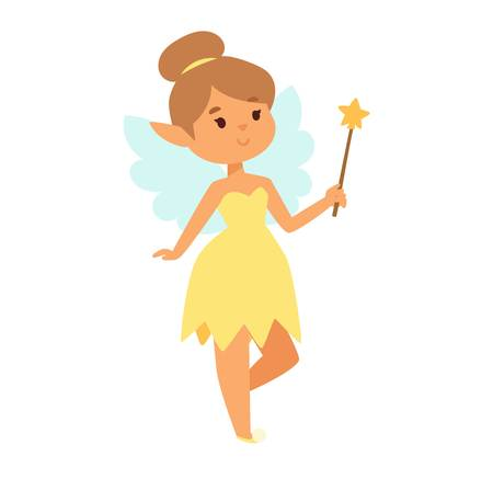 crown wings: Cute and beautiful princess fairy vector character. Style cartoon little girl in fashion costume, magic fantasy dress crown kid. Happy sweet teenage with wings. Illustration