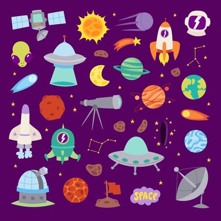 astronomy: Astronomy icons stickers vector set.