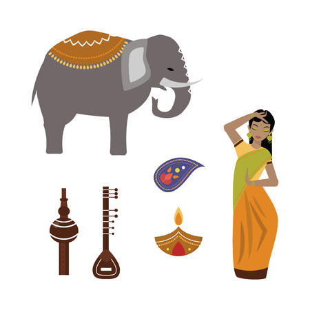 India animals and woman vector icons.