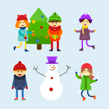 Kids playing winter games vector illustration. Illustration