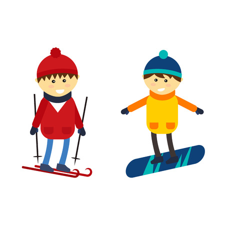 Skiing and snowboarding boy vector illustration. Illustration