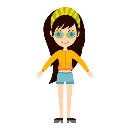 Beautiful vector cartoon fashion girl.