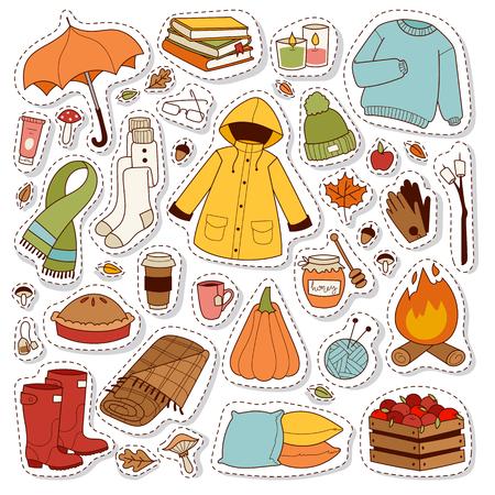 Autumn icons stickers hand drawn vector. Ilustração Vetorial