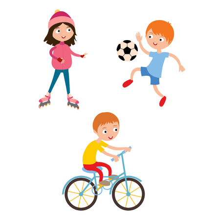 Young child boy and girl playing game vector illustration Illustration