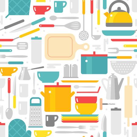 Kitchenware pattern vector background Illustration