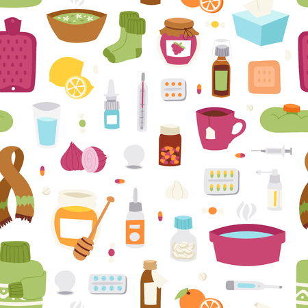 cough syrup: Flu influenza seamless pattern vector.