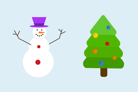 Christmas tree with snowman decoration concept vector.
