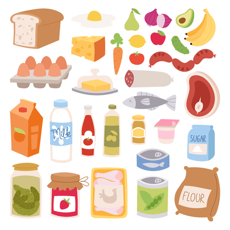 Everyday food vector illustration.