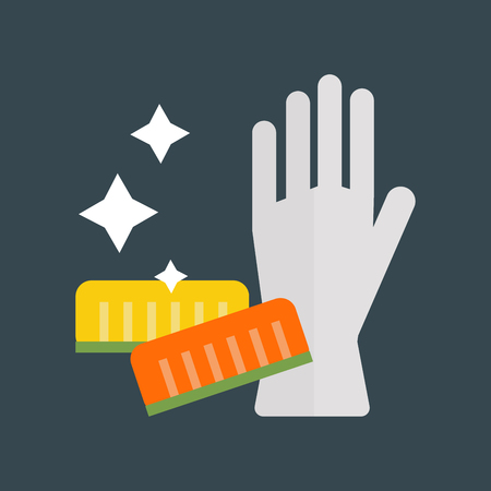 sponges: Rubber gloves and cellulose sponges flat icon vector illustration.