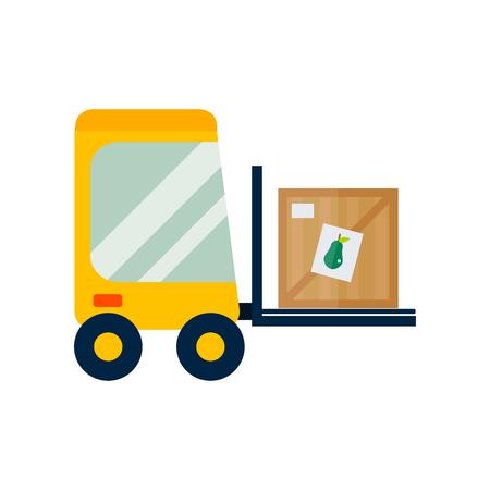 Vector forklift loader with wooden box. Illustration