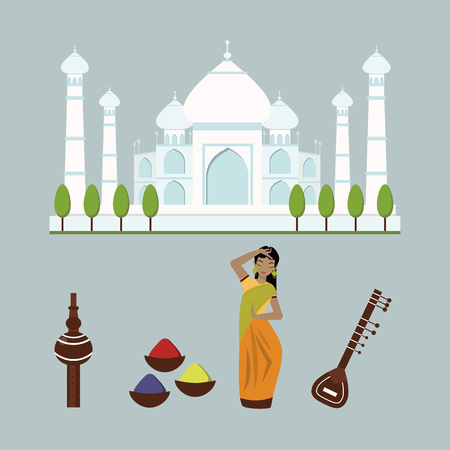 India landmark travel vector icons collection