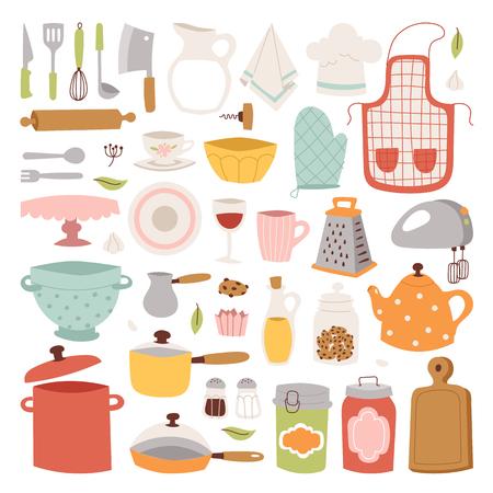 Iconos de vectores de cocina. Foto de archivo - 68528175