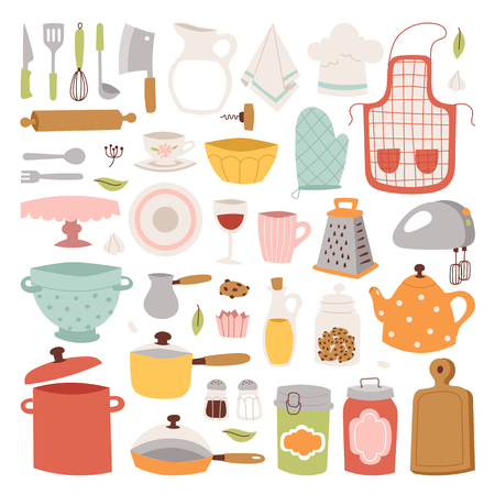 Keukengerei vector iconen. Stock Illustratie